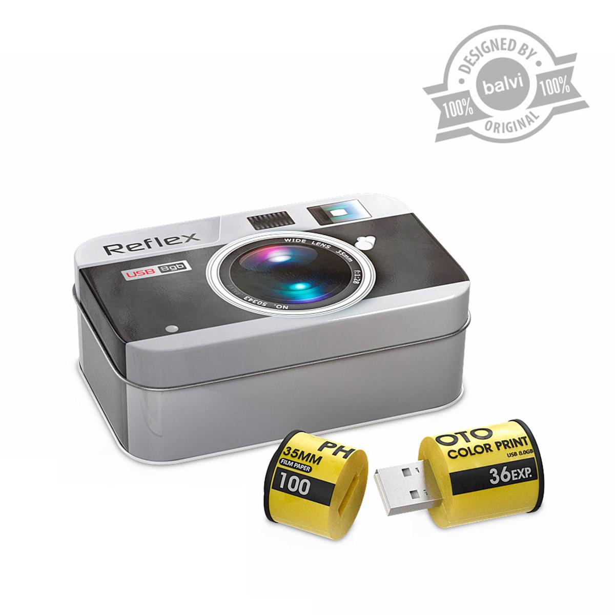 8GB USB Stick in Retro-Fotobox