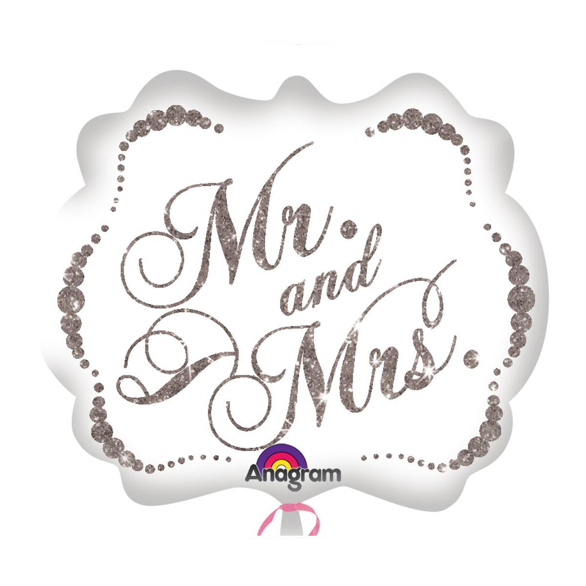 "HELIUM-LUFTBALLON ""MR. & MRS."" (GLITZERND)"