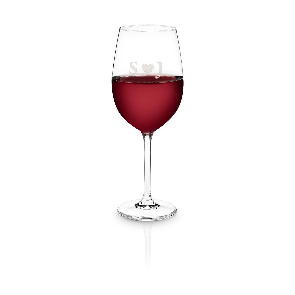 Personalisierbares Rotweinglas von Schott Zwiesel - Herz mit Initialen