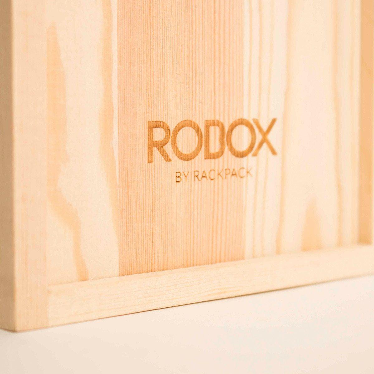 """RACKPACK – gravierte Geschenkbox für Wein: """"Roboter"""""""