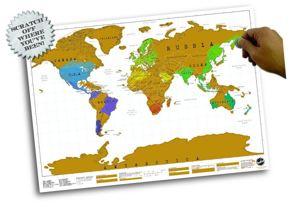 Rubbel- Weltkarte im Posterformat