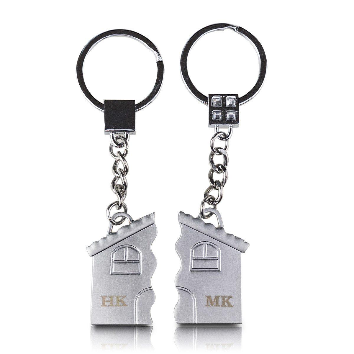 """Schlüsselanhänger-Paar """"Haus"""" mit Gravur"""
