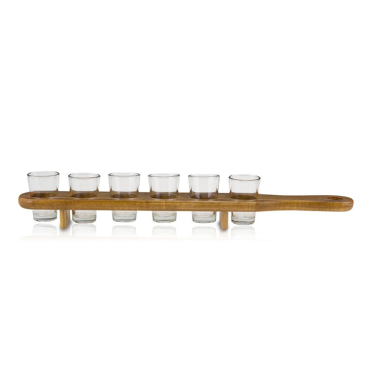 Schnapsbrett mit 6 Shot-Gläsern