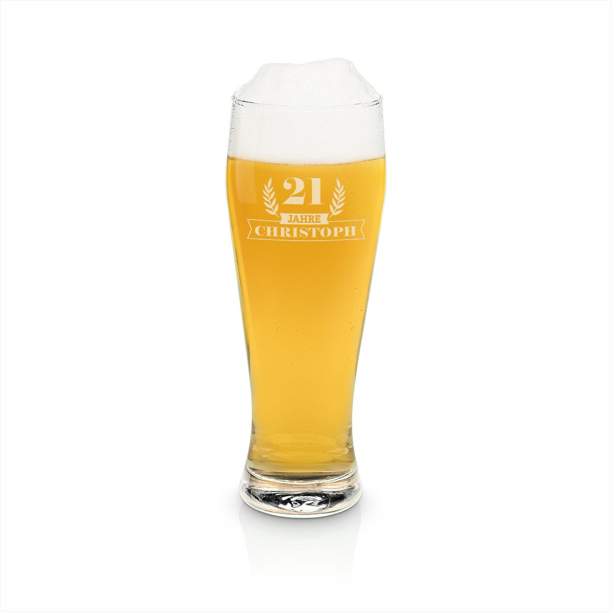 Weizenbierglas mit Gravur - Jubiläum