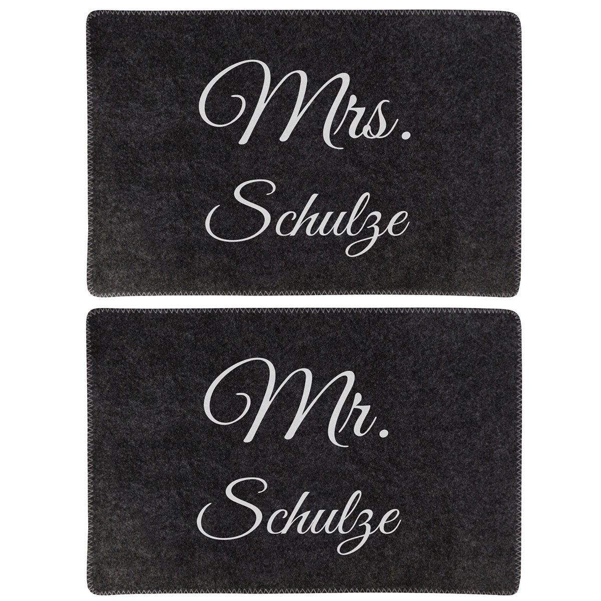 2er Set: Tischuntersetzer aus Filz - Mr. & Mrs.