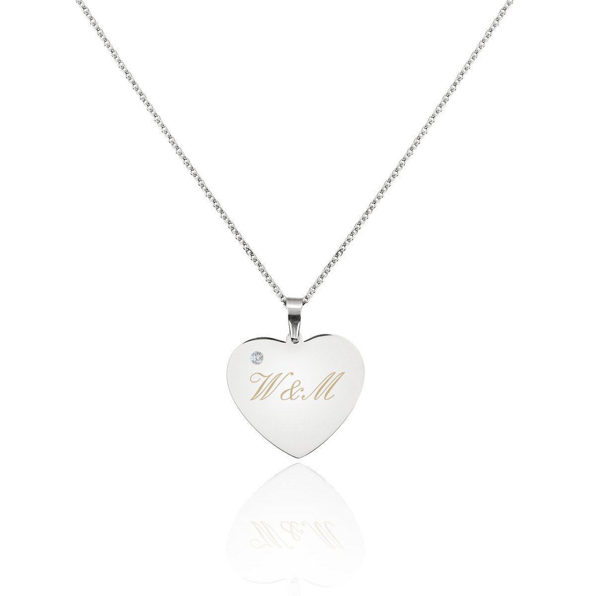 Collana con ciondolo cuore in argento e pietra preziosa
