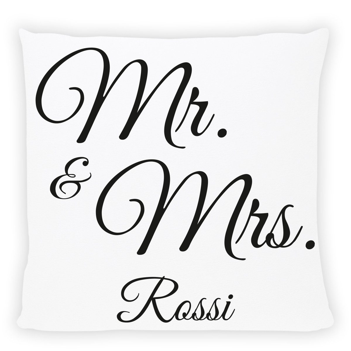 "CUSCINO PERSONALIZZABILE CON STAMPA ""MR. & MRS."""