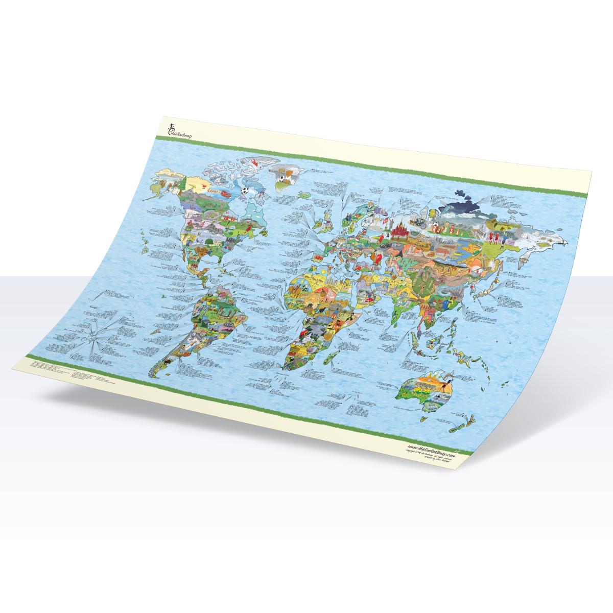 Fußball-Weltkarte mit Comics und Daten