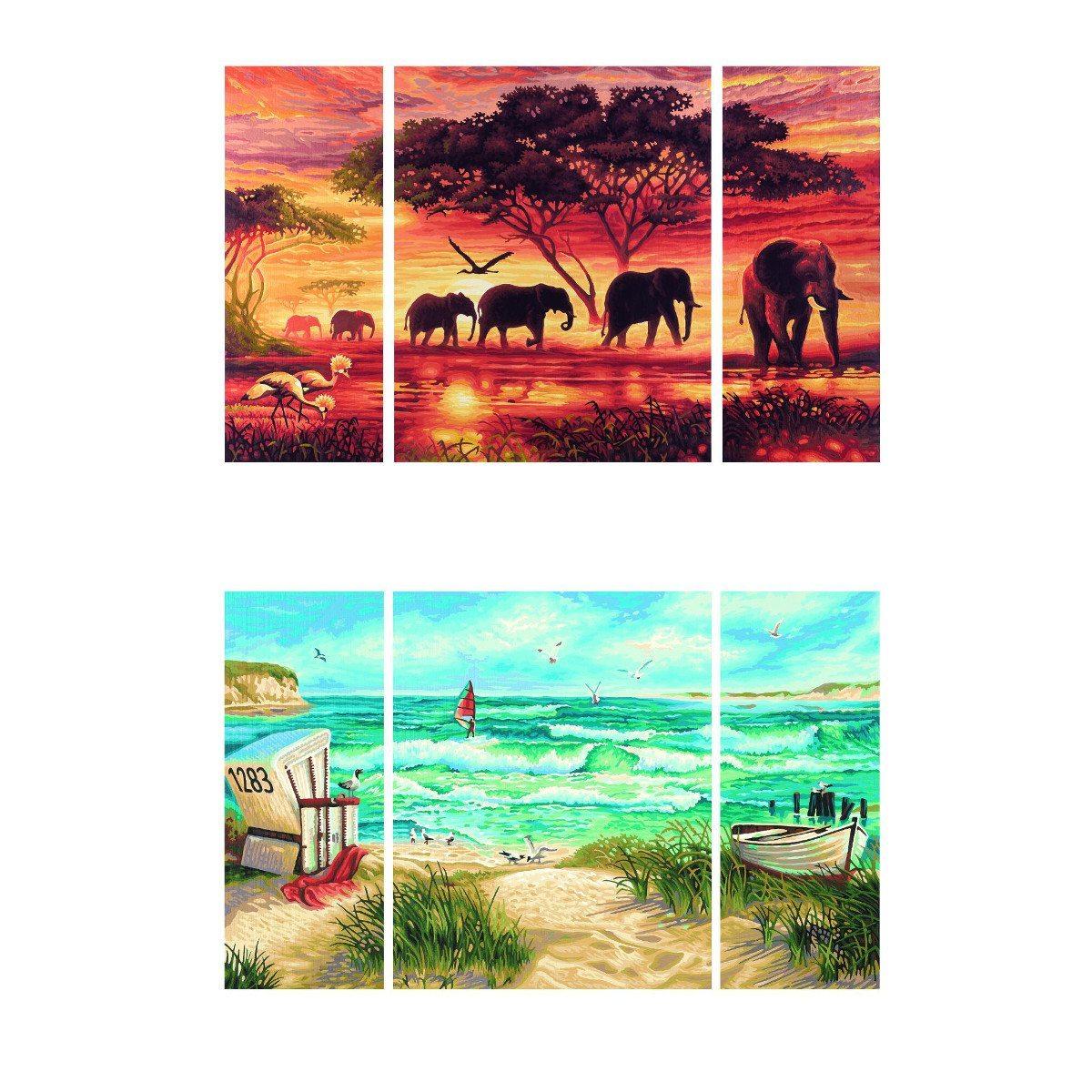 Malen nach Zahlen XL: 3-teiliges Gemälde