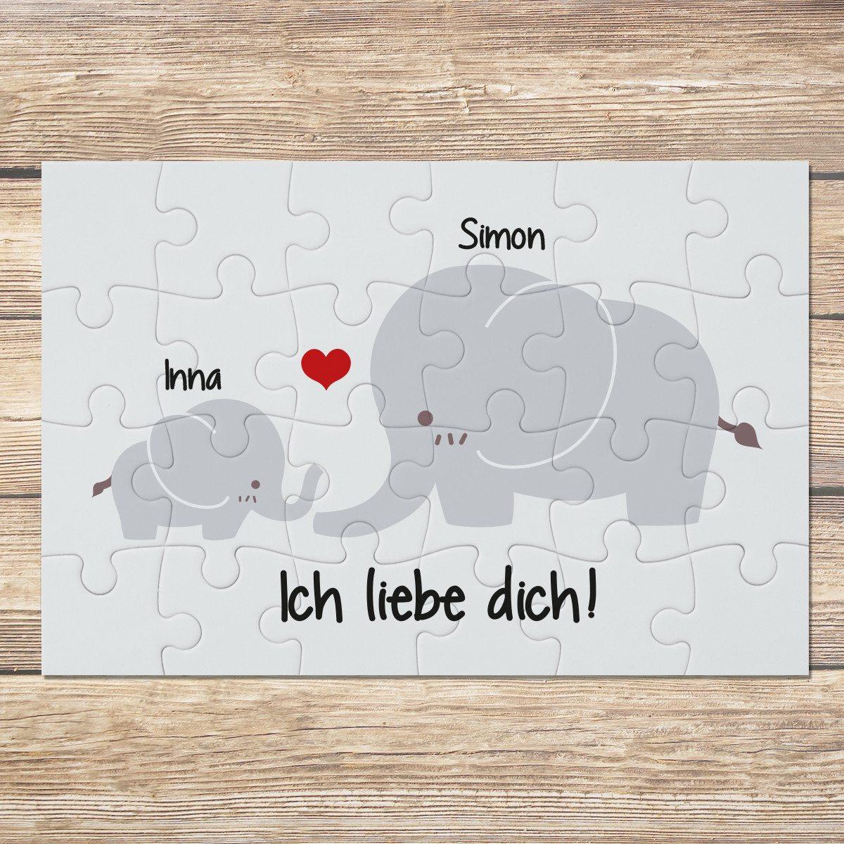 Personalisierbares Mini Puzzle mit Elefanten