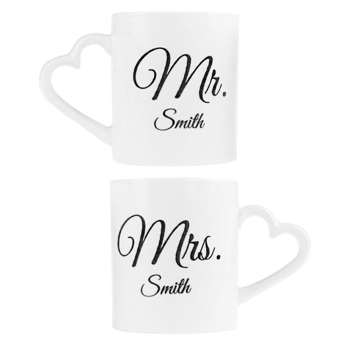Tazze romantiche personalizzabili 'Mr. & Mrs.'