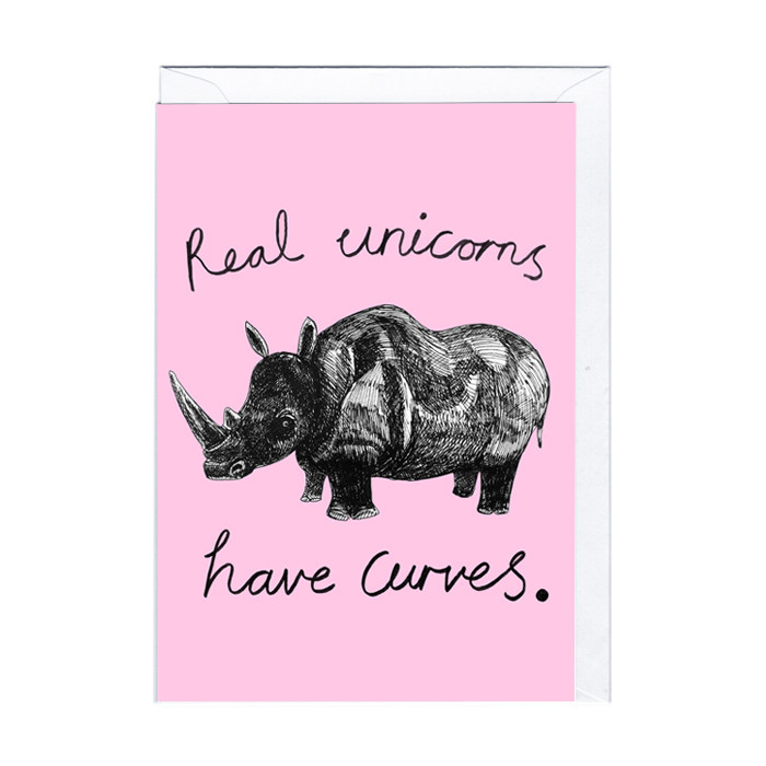 "Witzige Karte ""Real unicorns"""