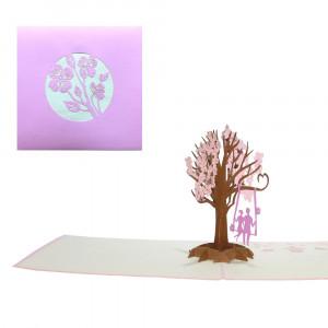3D-Grußkarte mit Pop-up-Baumschaukel