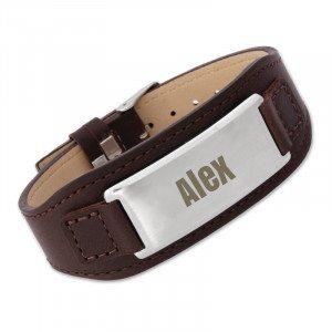 Bracciale Cinturino in pelle con piastrina personalizzabile