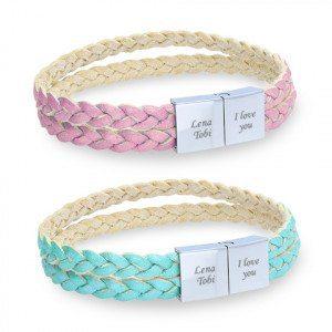 braccialetti doppi di pelle intrecciata personalizzabii 1