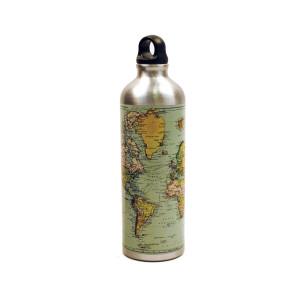 Outdoor Trinkflasche mit Weltkarte und Karabiner