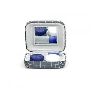 Kit porta-lenti a contatto - Reticolato bianco e grigio