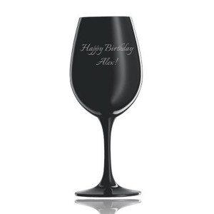 Schwarzes Weinprobierglas von Schott Zwiesel mit Gravur